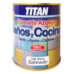 ESMALTE BAÑOS Y COCINAS BLANCO SATINADO 750ML - TITAN
